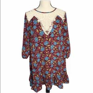 NEW entro wine floral tunic dress S crochet